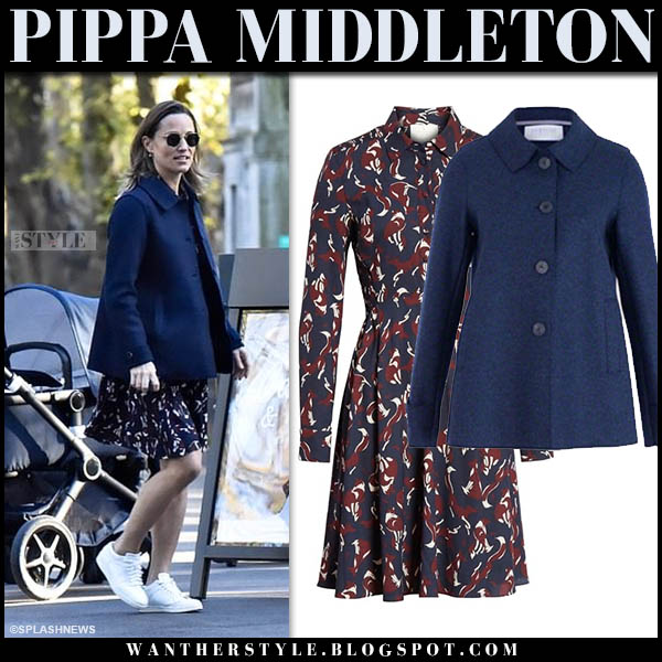 Pippa Middleton in navy short coat and printed dress kate spade fall winter street fashion october 23