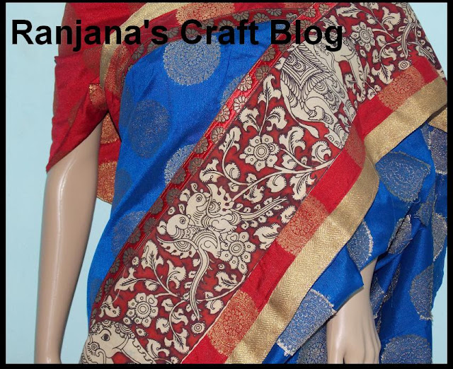 Saree with kalamkari border