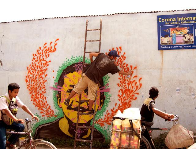 colombian street artist stinkfish in nepal