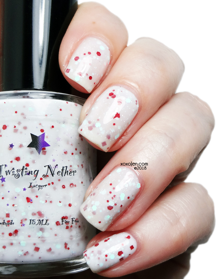 xoxoJen's swatch of Twisting Nether Peppermint Twist