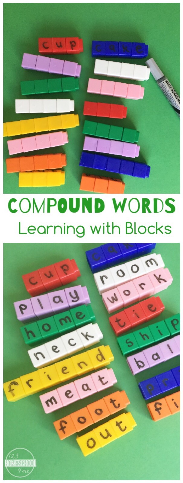 learning compound words with blocks. Black Bedroom Furniture Sets. Home Design Ideas
