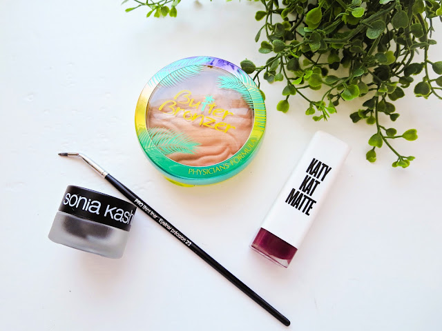 a picture of Summer Makeup Favorites : Sonia Kashuk Dramatically Defining Long Wear Gel Liner,  Sephora Pro Bent Liner Brush #23, Covergirl Katy Kat Matte Maroon Meow, Physician's Formula Butter Bronzer