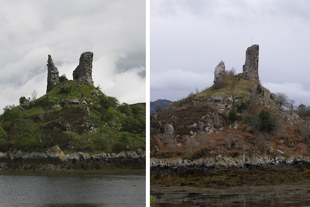 Before and after images of Caisteal Maol, Skye in 2015 and 2018 showing the extent of the lightning storm damage.