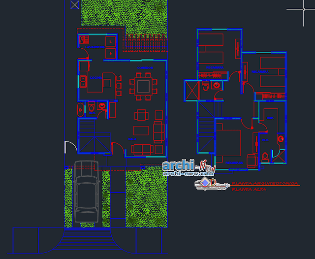 Houseroom residence in AutoCAD