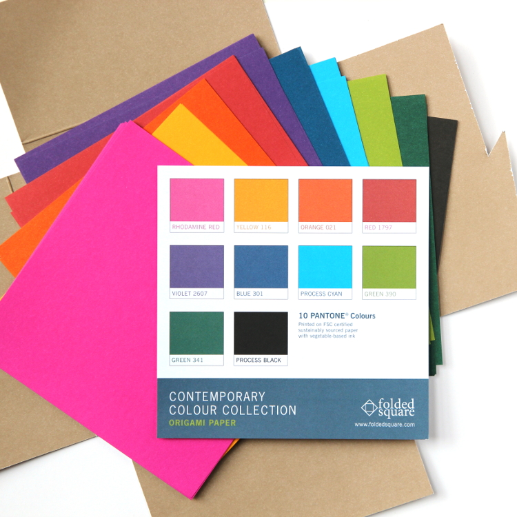 Folded Square Origami Paper Contemporary Colour Collection