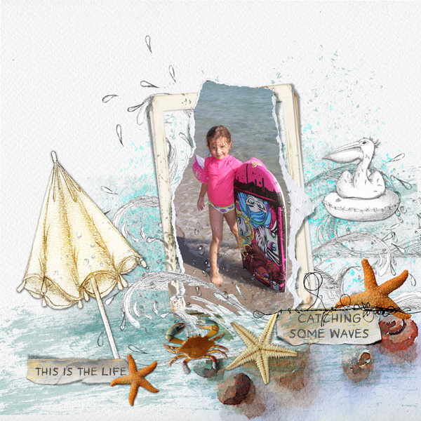 scrapbooking digital clindoeildesign clin d'oeil design Dawn Inskip Light and shade collection mer vacances