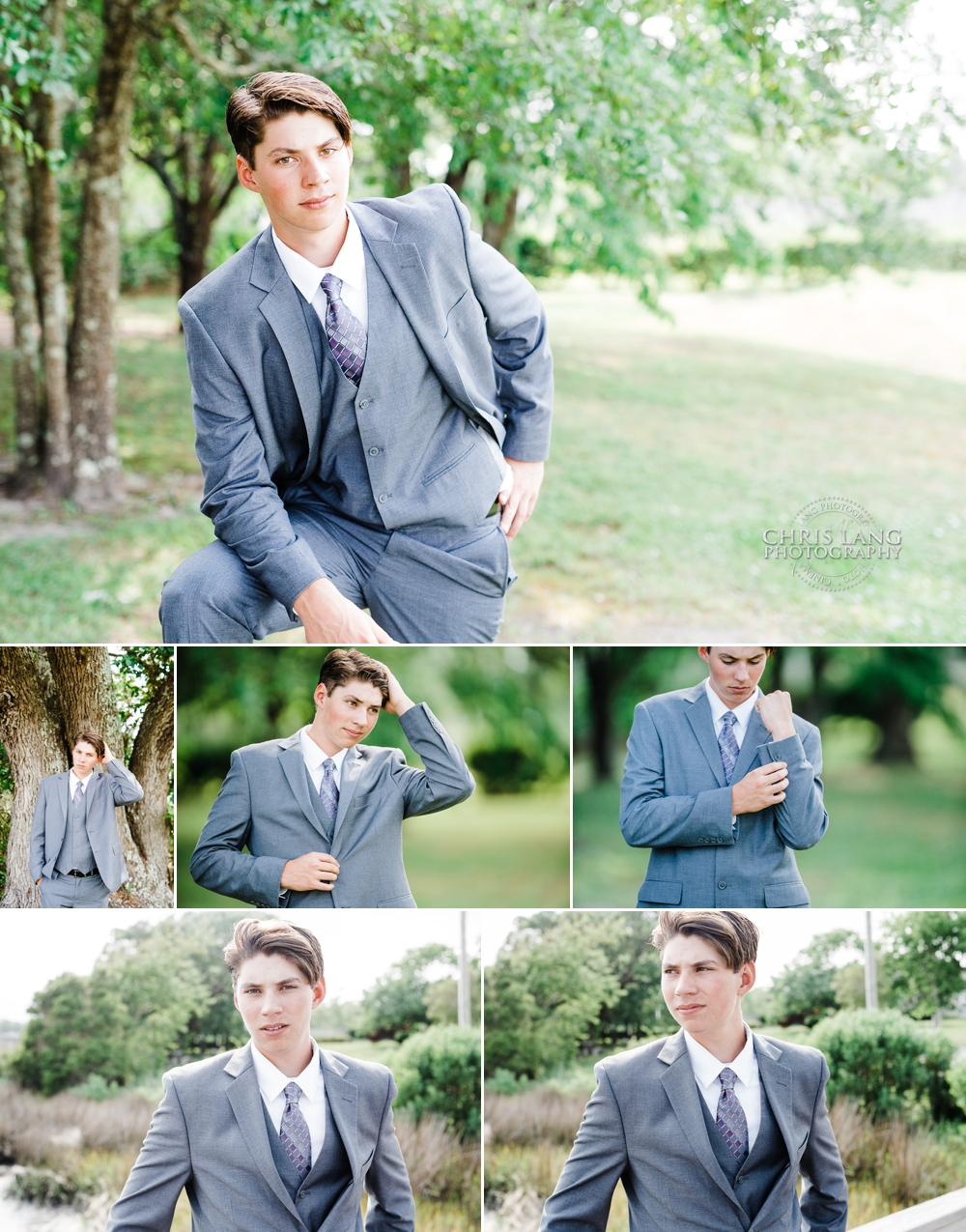 image of young man modeling a grey suit and tie under a southern oak tree - Fashion ideas  for boys - Wilmington NC Photographers