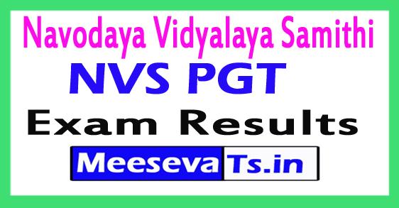 Navodaya Vidyalaya Samithi NVS PGT Results 2017