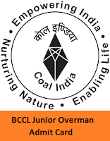 BCCL Junior Overman Admit Card