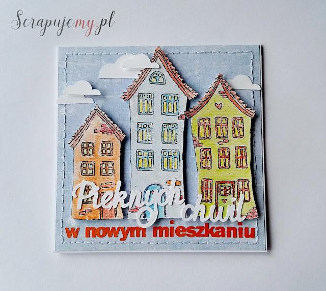 kartka na parapetówkę, kartka z domkami
