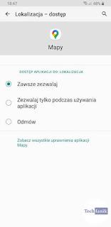 Samsung Android 10 Dostęp do lokalizacji dla aplikacji