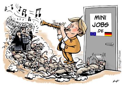 cartoon Merkel als ISlam Migranten rattenvanger van de EU voor minijobs DE