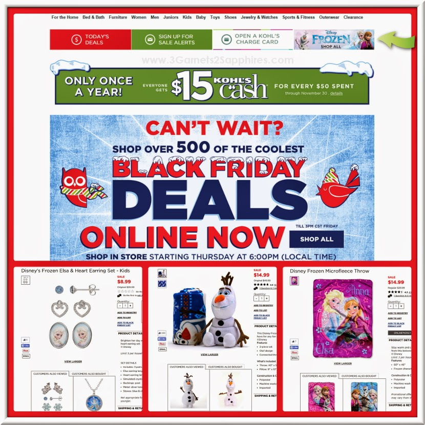 Kohl's Holiday Shopping Online - Disney FROZEN Gifts on Sale
