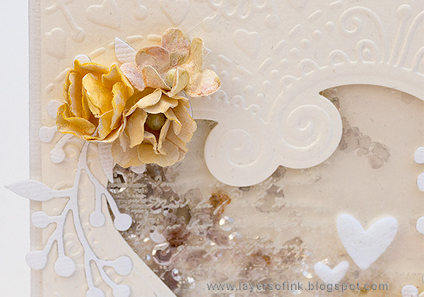 Layers of ink - White and Cream Textured Card by Anna-Karin Evaldsson with Sizzix Bohemian Heart Impresslits