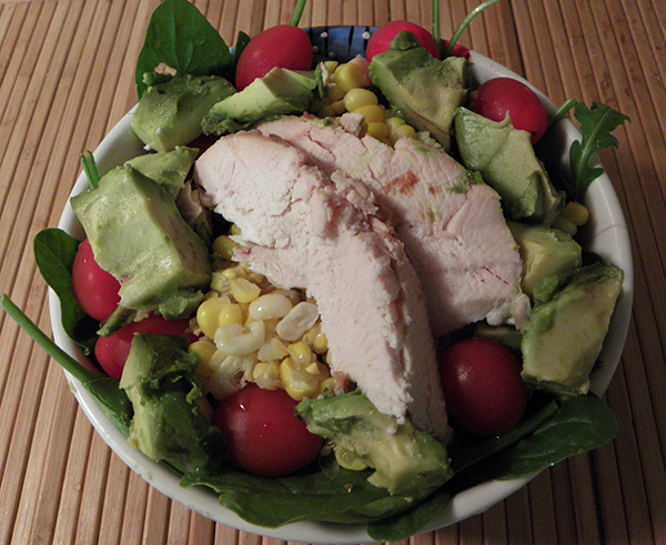Protein Salad with Avocado, Tomato, Spinach, Chicken Breast, and Corn off cob