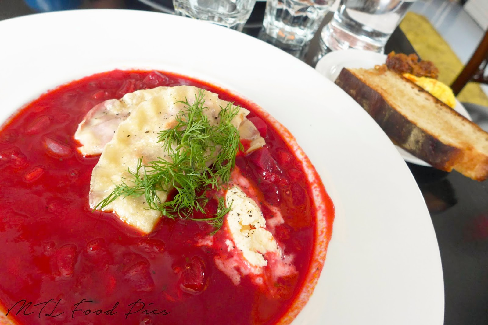 borscht beets pierogies - russian food Montreal