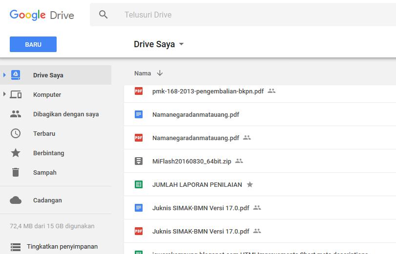 Cara berbagi file Via Google Drive