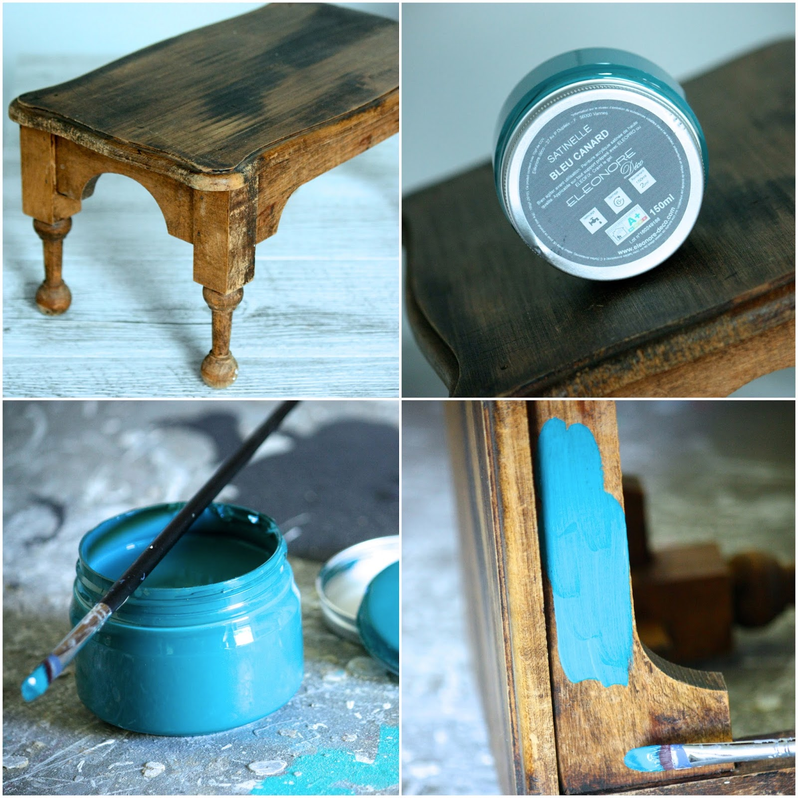 un nouveau regard relooking d 39 un vieux tabouret avec les peintures el onore d co. Black Bedroom Furniture Sets. Home Design Ideas