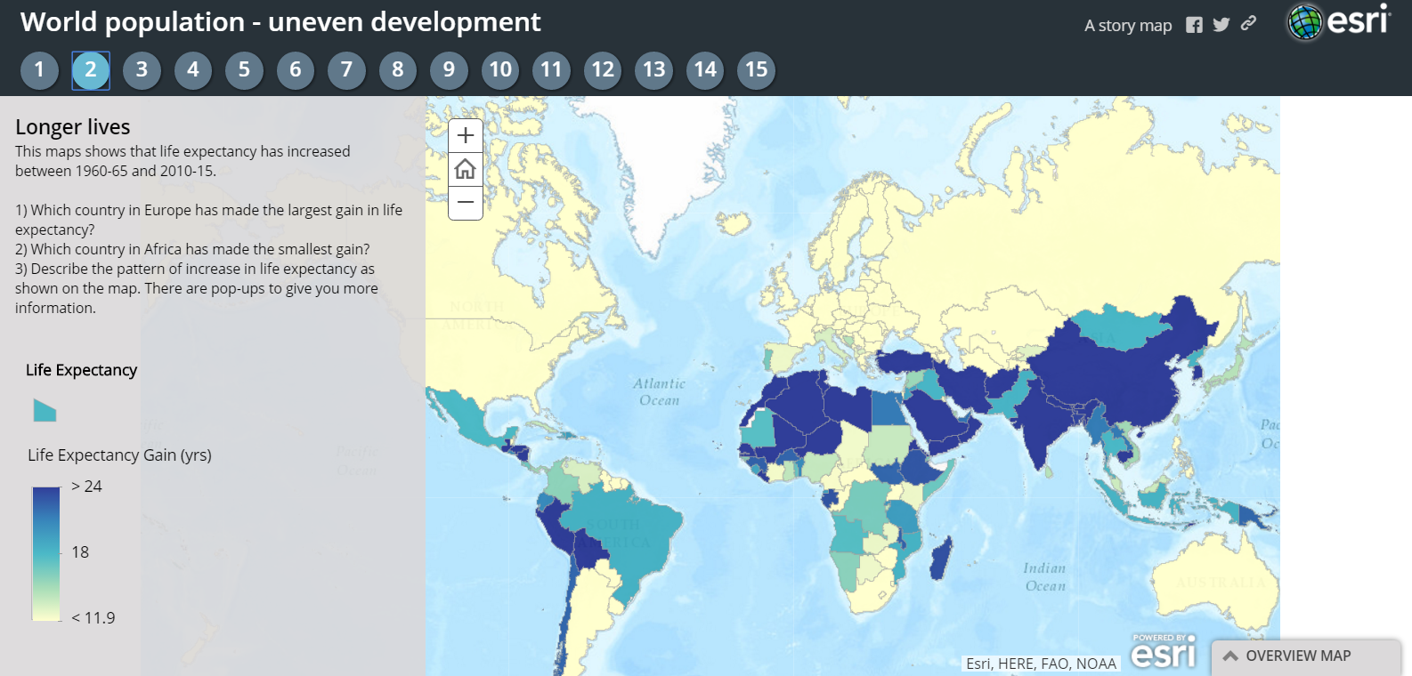 Free Technology For Teachers World Population Trends - Interactive map of world