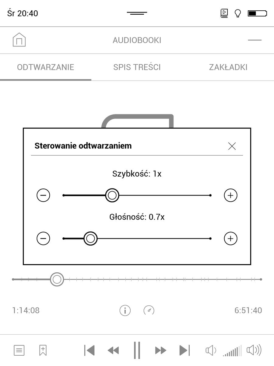 PocketBook InkPad 3 – regulacja tonu i tempa odtwarzania audiobooka