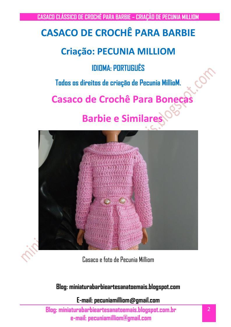 Casaco Clássico de Crochê Para Boneca Barbie Passo a Passo pag. 2