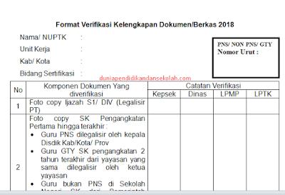 Format (ceklis) Verifikasi Kelengkapan Dokumen/ Berkas PPG/ PPGJ 2018