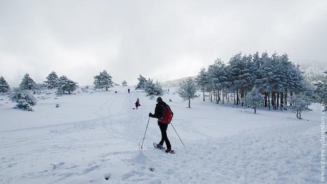 Ruta circular raquetas nieve libre Cotos Madrid Cerradillas Guarramillas