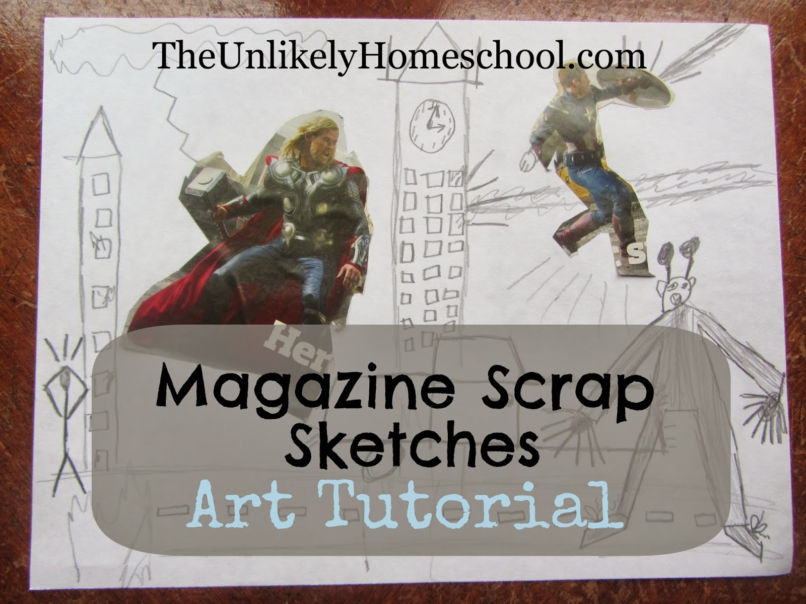 Art Tutorial: Magazine Scrap Sketches {The Unlikely Homeschool}