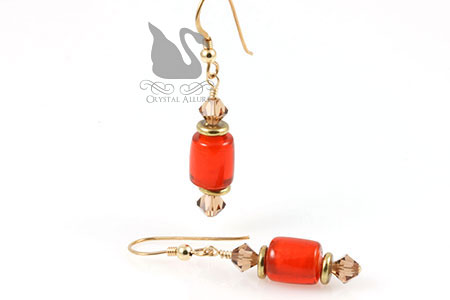 Autumn Maize Topaz Crystal Beaded Earrings (E196)