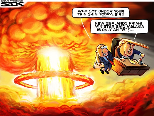 Donald Trump and aide flying through the air from the force of a nuclear explosion.  Aide says,