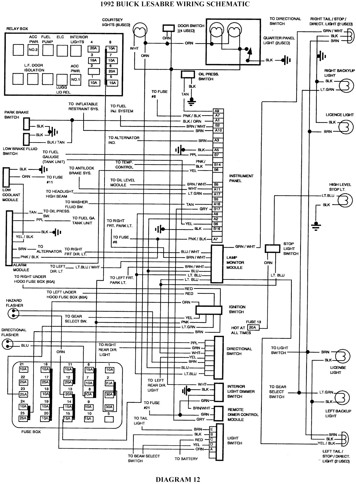 1998 oldsmobile 88 fuse box diagram wiring schematic 1998 oldsmobile intrigue fuse box diagram 1992 buick lesabre schematic wiring diagrams schematic