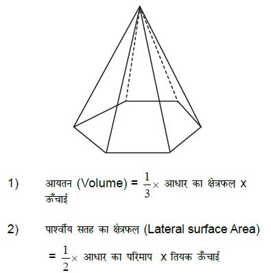 पिरामिड   के आयतन का सूत्र पिरामिड   के  कुल पृष्ठीय क्षेत्रफल का सूत्र  पिरामिड   के पार्श्वीय सतह के  क्षेत्रफल का सूत्र