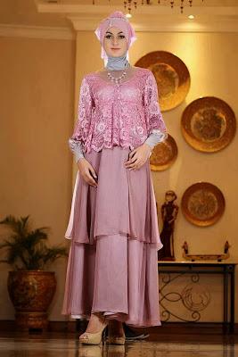 Model Gaun Pesta Muslim Sifon dan Taff Terbaru