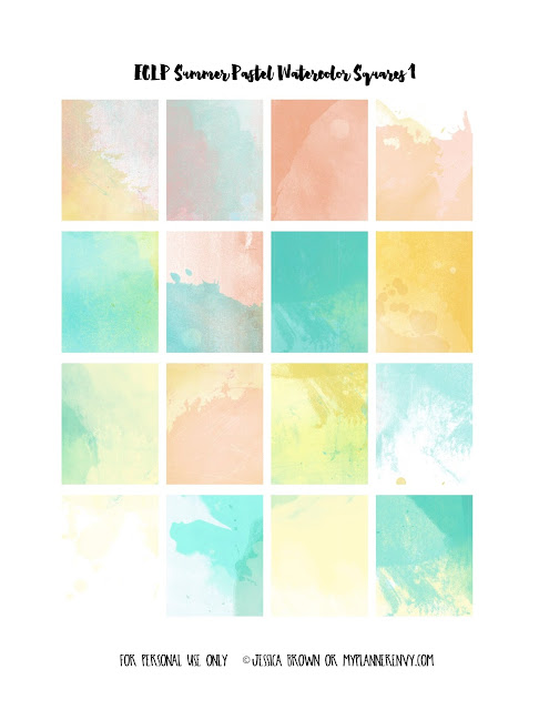 Free Printable Summer Pastel Watercolor Weekly Squares Page 1 for the Vertical Erin Condren on myplannerenvy.com