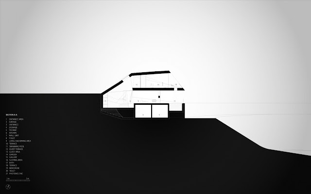 Section drawing of the modern villa