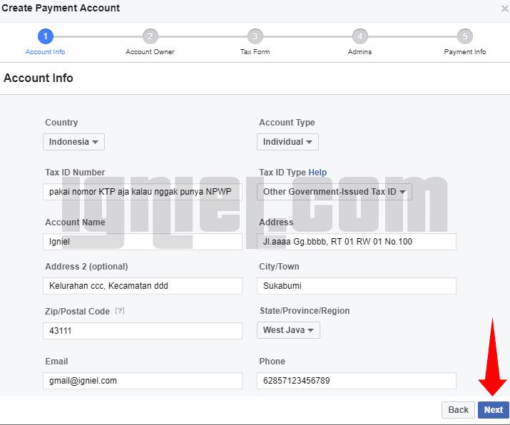 Cara Setting Data Pembayaran Audience Network