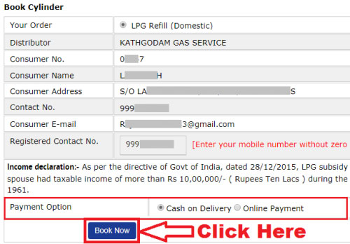 how to book the indane gas cylinder online