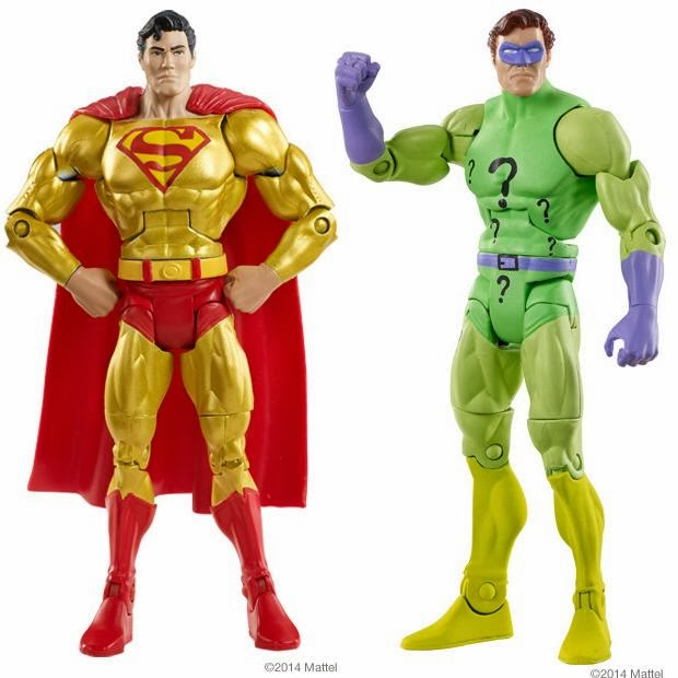 "DC Comics Super Powers 6"" Action Figures by Mattel - Gold Superman & Green Lantern Hal Jordan as The Riddler"