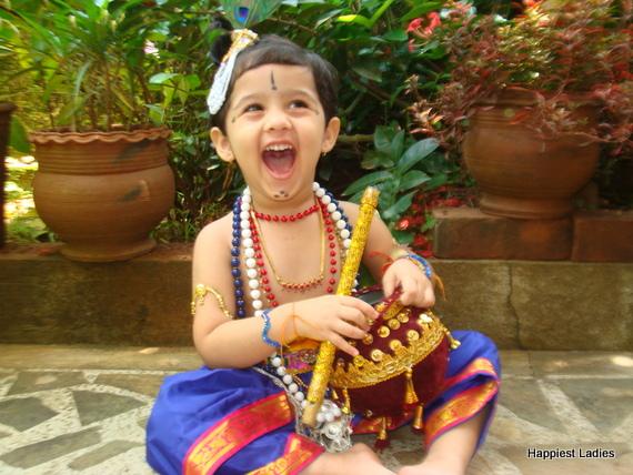 indian kids dressed as krishna