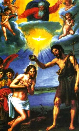 Dibujo del bautizo de Jesús para niños y a colores
