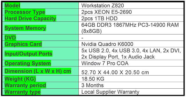 WANT TO SELL: HP WORKSTATION Z820 MT (REFURBISHED) - TYFON