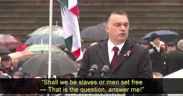 Hungarian Prime Minister Viktor Orbán giving a speech on March 15, 2016