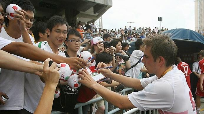 Philipp Lahm durante una de las giras asiáticas del Bayern