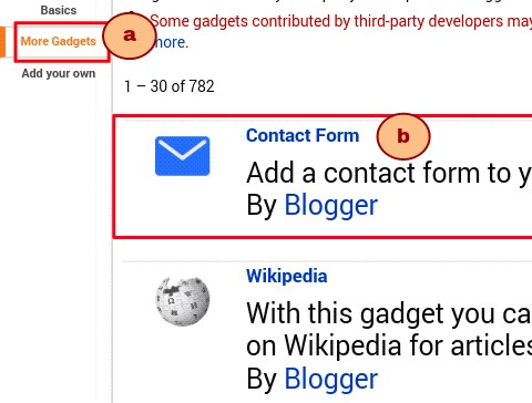 click on more gadget then contact form - newfeatureblog