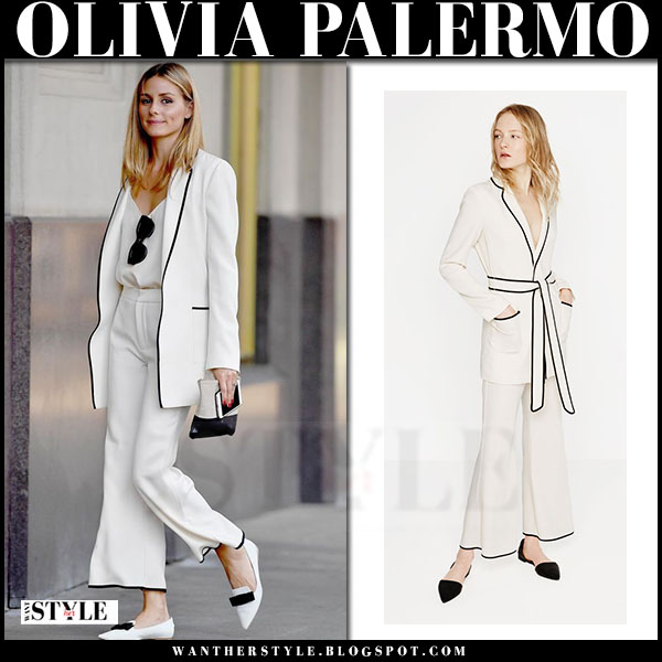 Olivia Palermo in white zara blazer and white cropped pants with white flats jimmy choo gala what she wore