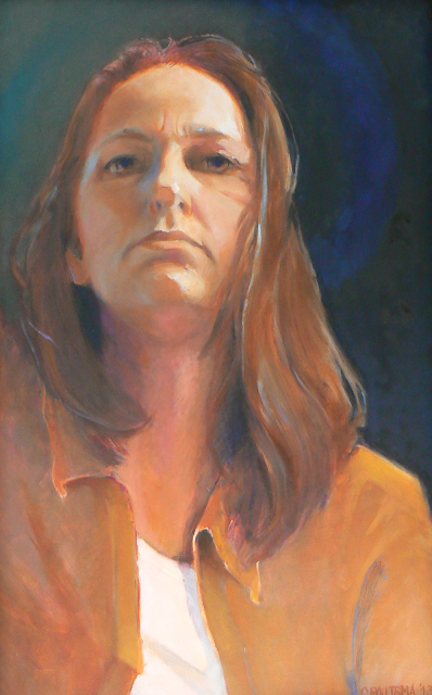 zelfportret Claire Poutsma olieverf op doek selfportrait oilpainting