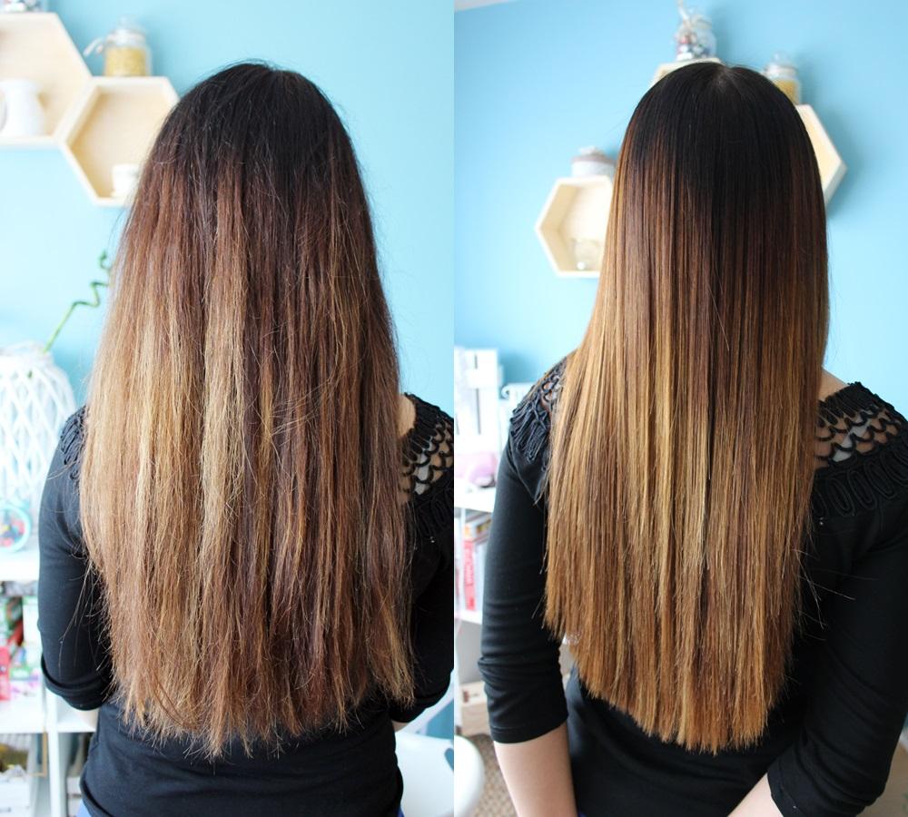 zdjęcie przed i po keratynowym prostowaniu włosów