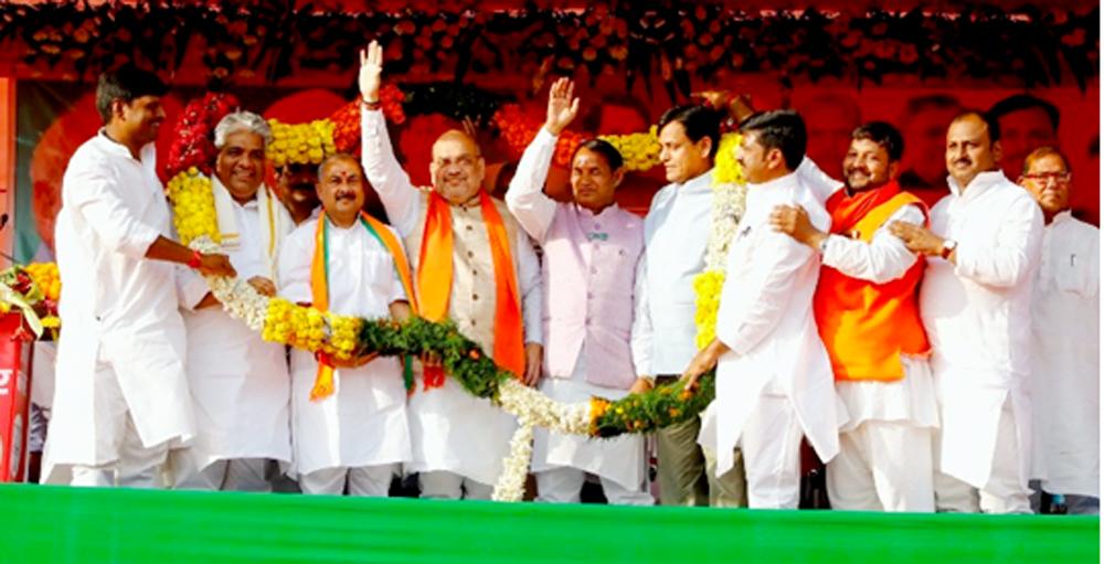 बीजेपी अध्यक्ष अमित शाह द्वारा औरंगाबाद, बिहार में आयोजित जन-सभा