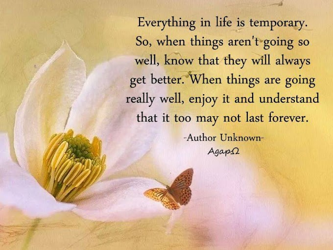 Everything in life is temporary. So, when things aren't going so well, know that they will always get better. When things are going really well, enjoy it and understand that it too may not last forever.