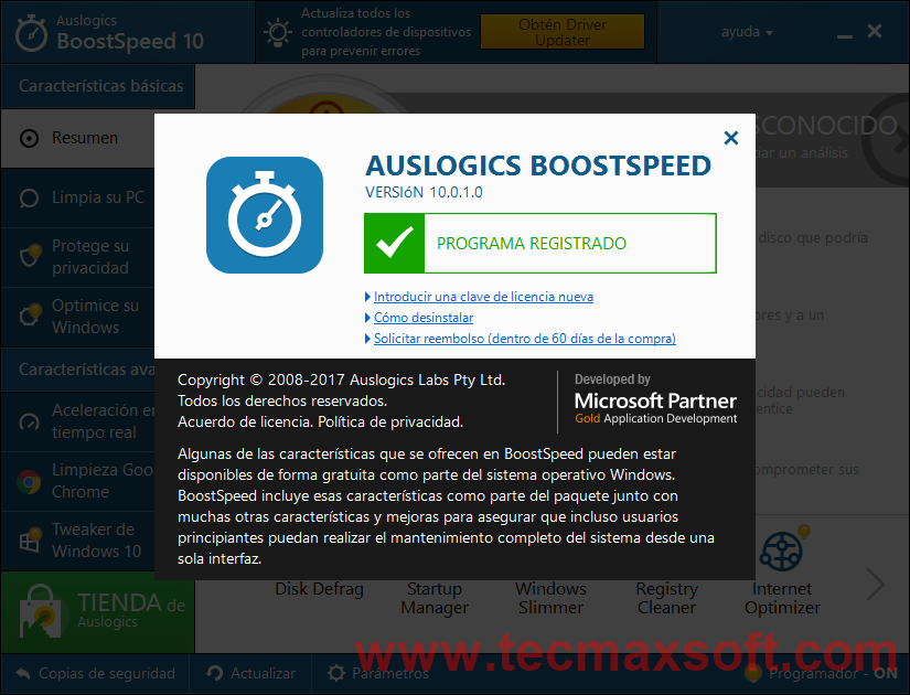 Auslogics BoostSpeed 10 Captura